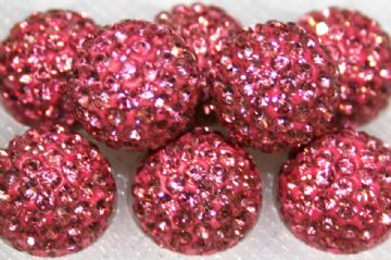 12mm Pink 130 Stone  Pave Crystal Beads - Half Drilled  PCBHD12-130-006
